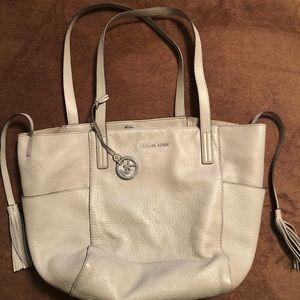 Michael Kors light grey leather handbag